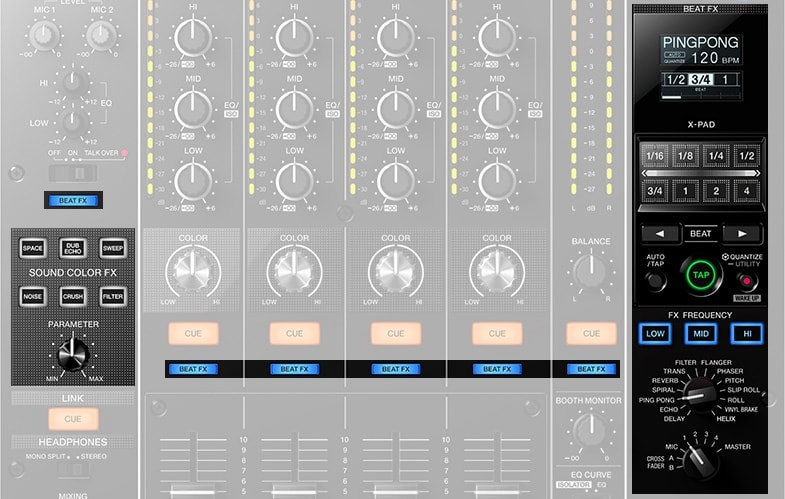 DJ mixers tend to have FX built in, unlike studio mixers