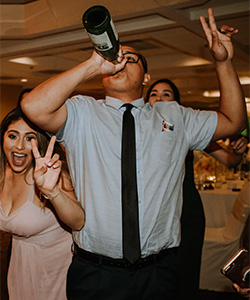 Don't get drunk while DJing a wedding