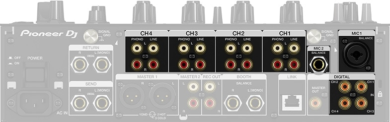 The inputs of a DJ mixer