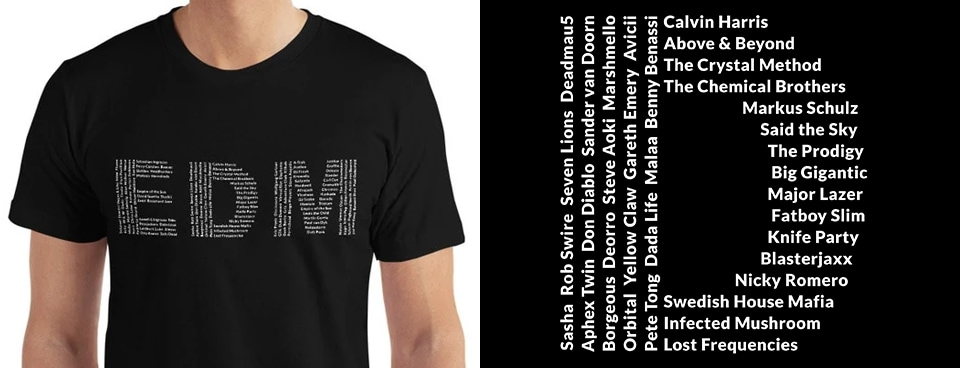 125 Superstar EDM DJs t-shirt
