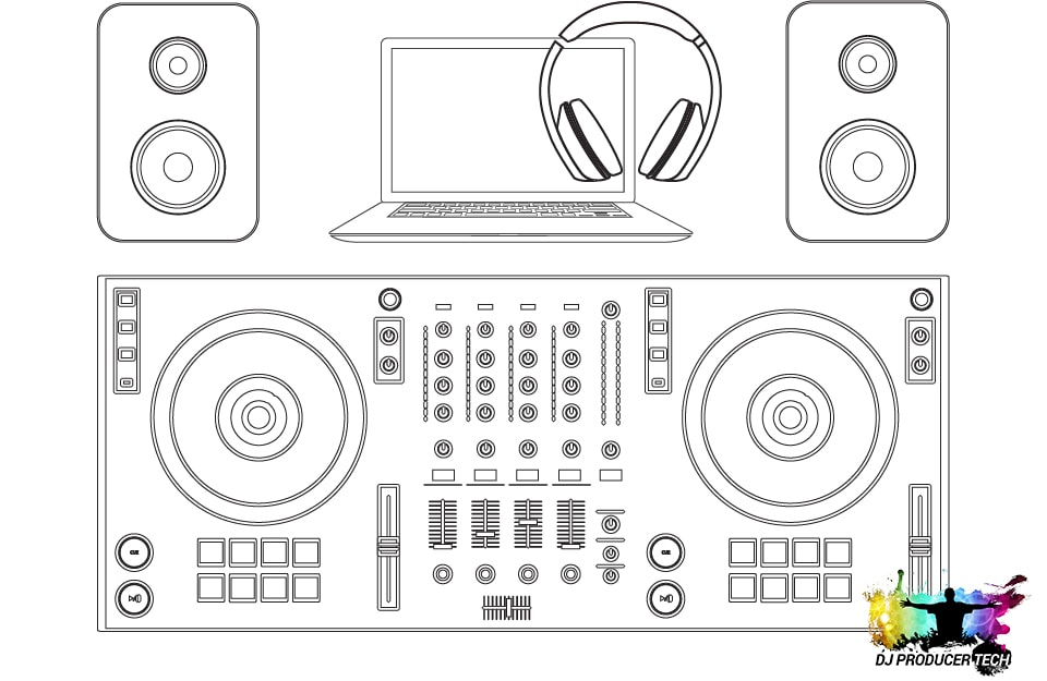 A DJ controller setup with speakers, laptop & headphones