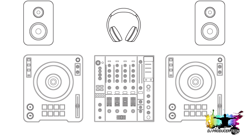 A decks & mixer DJ setup with speakers & headphones